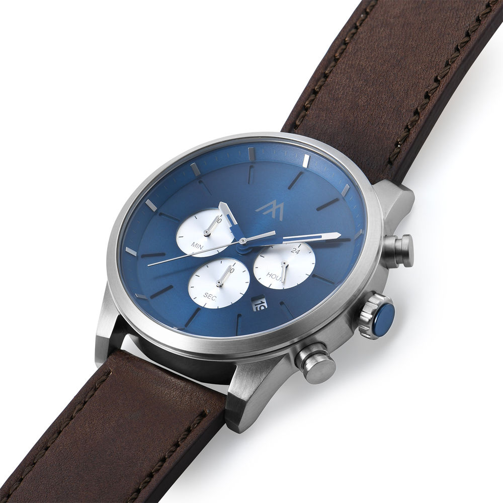 Quest Chronograph Leather Strap Watch for Men with Blue Dial - 1