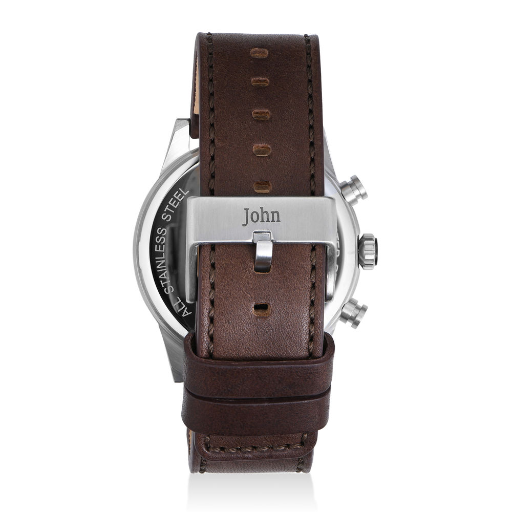 Quest Chronograph Leather Strap Watch for Men with Blue Dial - 2