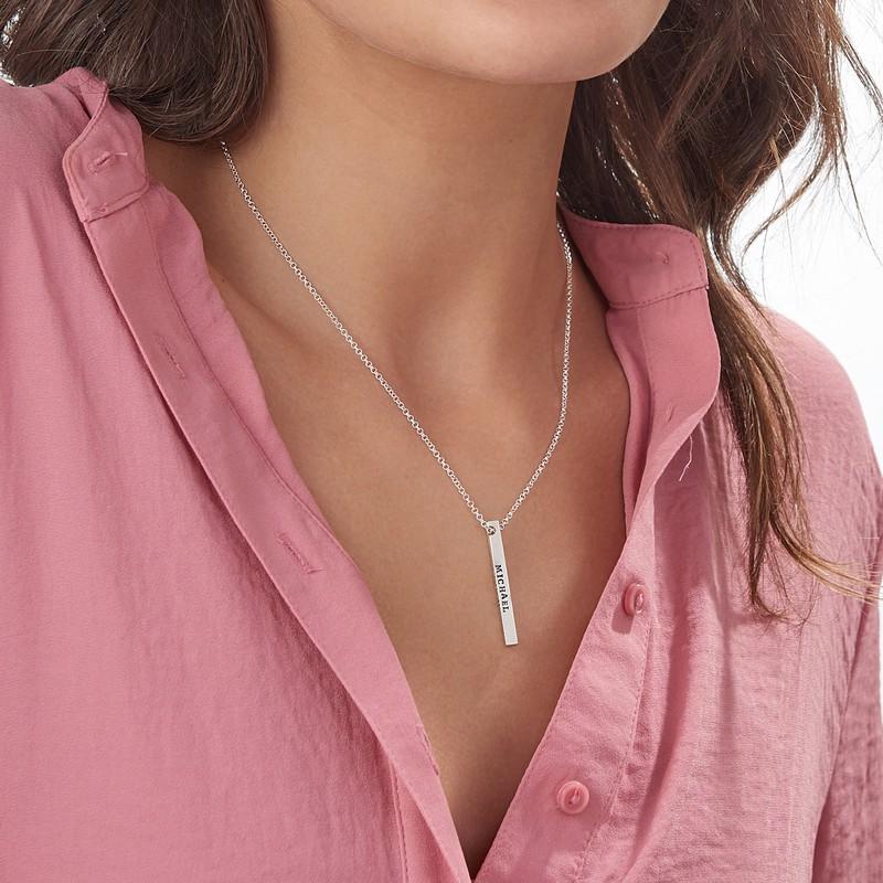 Sterling Silver 4 Sides Stamped Bar Necklace - 4