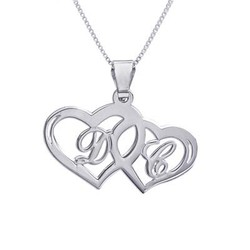 Silver Couples Hearts Pendant with Initials product photo