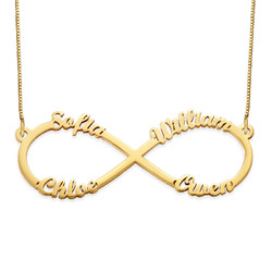 Infinity necklace with multiple names – 14ct gold product photo