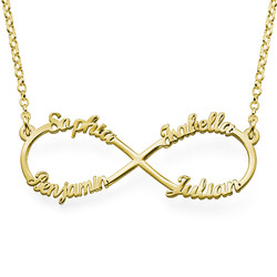 Infinity necklace with multiple names with gold plating product photo