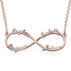 Infinity necklace with multiple names with rose gold plating product photo
