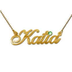 14ct Gold and Swarovski Crystal Name Pendant product photo