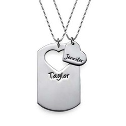 Couples Dog Tag Necklace With Cut Out Heart product photo