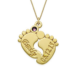 Personalised Baby Feet Necklace in 14ct Gold product photo