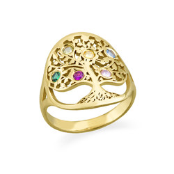 Family Tree Jewellery - Birthstone Ring with Gold Plating product photo