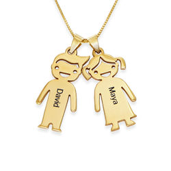 Mother's Necklace with Children Charms in 10ct Yellow Gold product photo