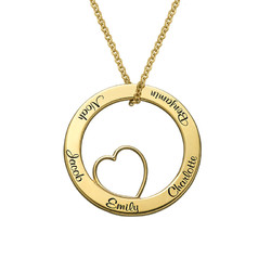 Family Love Circle Pendant Necklace with Gold Plating product photo