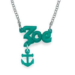 Stylish Colour Name Necklace with your choice of charm product photo