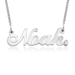 Personalised Classic Name Necklace in Sterling Silver with Diamond product photo