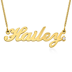 Personalised Classic Name Necklace in Gold Plated with Diamond product photo