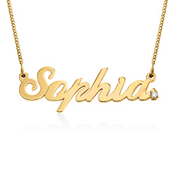 Personalised Classic Name Necklace in Gold Vermeil with Diamond product photo