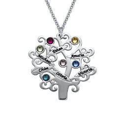 Family Tree Necklace with Birthstones product photo