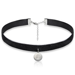 Velvet Choker Necklace with Initial Charm product photo