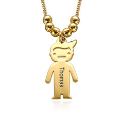 Gold Plated Mum Necklace with Engraved Kids Charms product photo
