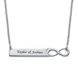 Infinity Bar Necklace with Engraving - Sterling Silver product photo