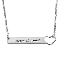 Heart Bar Necklace with Engraving - Sterling Silver product photo