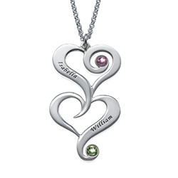 Double Heart Birthstone Necklace with Engraving product photo