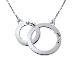 Engraved Eternity Circles Necklace in Silver product photo