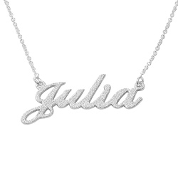 Sparkling Diamond-Cut Silver Classic Name Necklace product photo