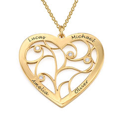 Heart Family Tree Necklace with Diamonds in Gold Plating product photo