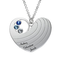 Mother Heart Necklace with Birthstones in Silver Sterling product photo