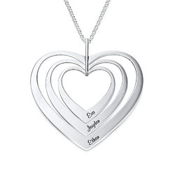 Family Hearts Necklace in Silver Sterling product photo