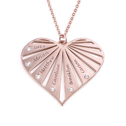 Family Necklace with Diamonds in Rose Gold Plating product photo