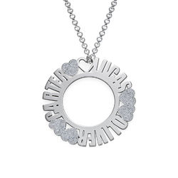 Circle Name Necklace in Sterling Silver with Diamond Effect product photo