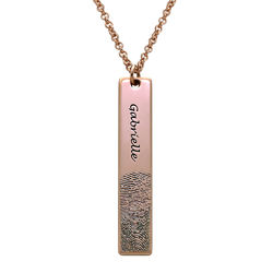 Fingerprint Engraved Vertical Bar Necklace with 18ct Rose Gold Plating product photo