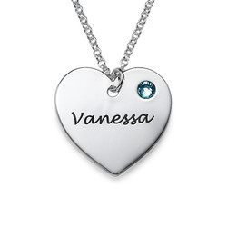 Teen's Personalised Heart Necklace with Birthstone in Silver product photo