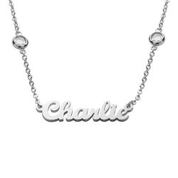 Name Necklace with Clear Crystal Stone in Silver product photo