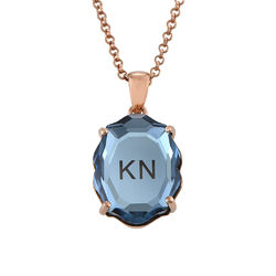 Stone Engraved Necklace in Rose Gold Plating product photo