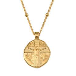 Jesus Christ Coin Necklace in Gold Plating product photo