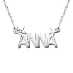 Star Name Necklace with Diamond in Silver product photo