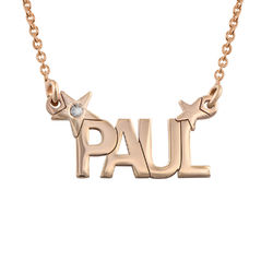 Star Name Necklace with Diamond in Rose Gold Plating product photo