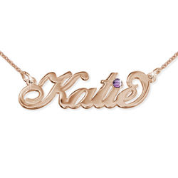 Rose Gold Plated Silver Swarovski Name Necklace product photo