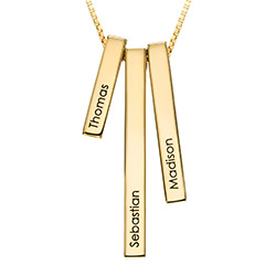Engraved Triple 3D Vertical Bar Necklace in Gold Plating product photo