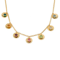 Mum Personalised Charms Necklace with Birthstone Crystals in Gold product photo