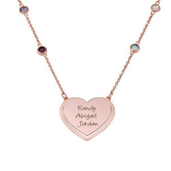 Engraved Heart Necklace with Multi-coloured Stones chain in Rose Gold product photo