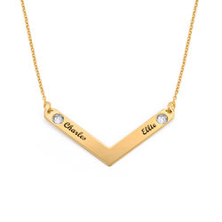 Birthstone Personalised Family Necklace in Gold Plating product photo