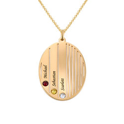 Engraved Family Necklace with Birthstones in Gold Plating product photo