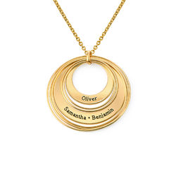 Engraved Two Ring Necklace in 18ct Gold Plating product photo