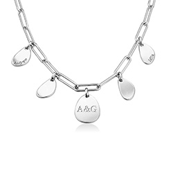Personalized Chain Link Necklace with Engraved Charms in Sterling product photo