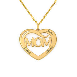 Mum Heart Necklace with Kids Names in 18ct Gold Plating product photo