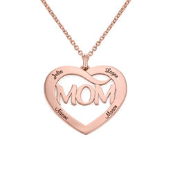 Mum Heart Necklace with Kids Names in 18ct Rose Gold Plating product photo