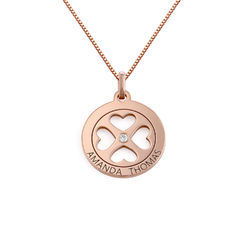 Four Leaf Clover Heart in Circle Pendant Necklace in 18ct Rose Gold product photo