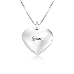 Heart Pendant Necklace with Engraving in Sterling Silver product photo
