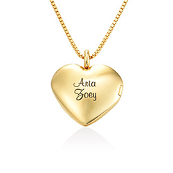 Heart Pendant Necklace with Engraving in Gold Vermeil product photo